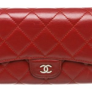 Chanel Deep Red Lambskin Leather Classic Long Flap